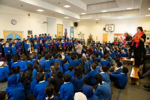Xmas music. The children from Frederick Bird Primary school, Coventry, have been learning how to play the P instruments.